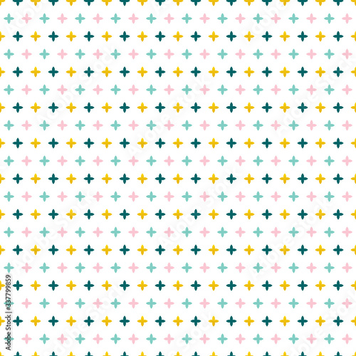 Fotografía Vector colorful seamless pattern background with abstract sparks, crosses shapes
