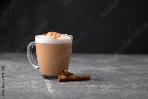 Fototapeta Side view of delicious cappuccino coffee with milk foam sprinkled with cinnamon in a transparent glass mug on a gray background, horizontal format obraz
