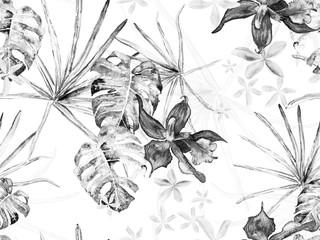 Panel Szklany Czarno-Biały Orchid Seamless Pattern.