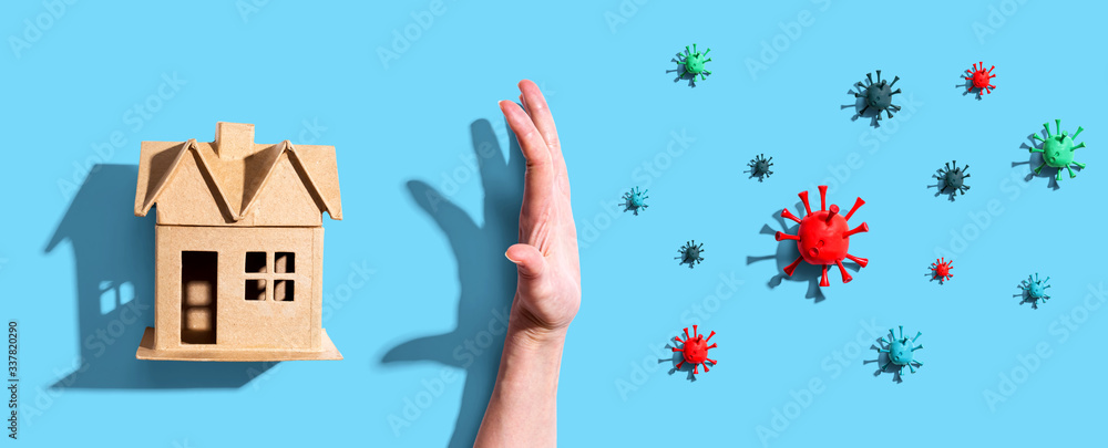 Fototapeta Protect your family from epidemic influenza and Coronavirus Covid-19 concept