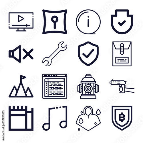 Photo Set of 16 secrecy outline icons