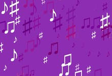 Light Purple Vector Template With Musical Symbols.