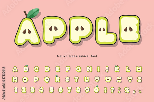 Cute summer apple font. Cartoon paper cut out alphabet for kids. Funny letters and numbers on pink. Vector