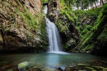 Long Exposure Photograph Of Mountain Waterfall. Landscape Of Miedzygorze, Sudety, Poland.