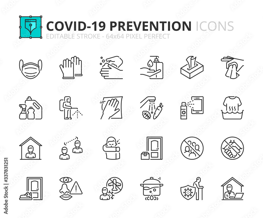 Fototapeta Simple set of outline icons about Coronavirus prevention.
