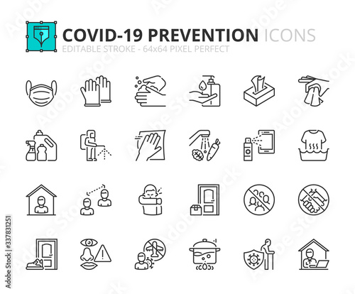 Photo Simple set of outline icons about Coronavirus prevention.