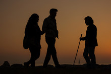 Silhouette Of Blind Man