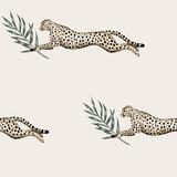 Rocznik zieleni gałąź, gepard działającej przyrody zwierzęcy kwiecisty bezszwowy deseniowy kości słoniowej tło. Tapeta egzotycznej dżungli. - 337853698
