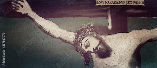 Canvas Print Jesus Christ. Crucifixion. Christian banner