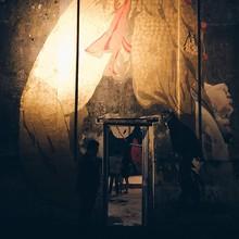 Graffiti On Illuminated Wall
