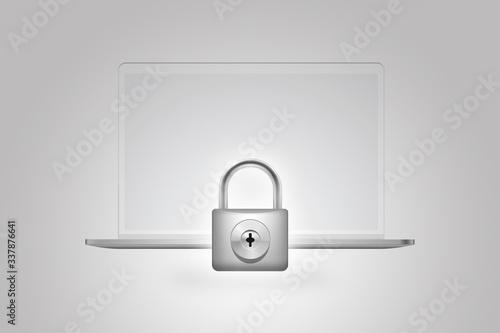Papel de parede Seguridad digital de datos en línea en computadora de escritorio con candado de