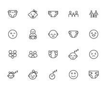 Premium Set Of Kid Line Icons.