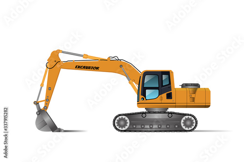 Photo Excavator Backhoe for digging or in different areas, the driver's room is equipped with air conditioners and wheels in the form of tracks