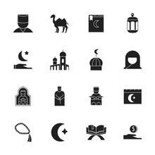 Ramadan Kareem Icons Set Over ...