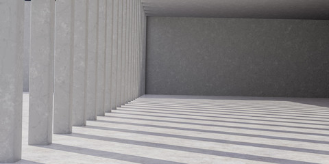 Abstract architecture concrete room interior 3d rendering.