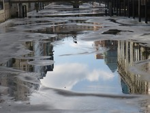 Reflection Of Frozen Water In Puddle