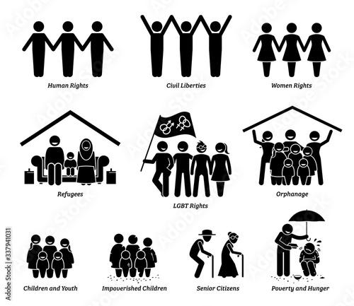 Fototapeta NPO nonprofit organization foundation welfare vector set. Non profit group of human rights, civil liberties, women rights, refugees, LGBT, orphanage, children, senior citizens, and poverty hunger. obraz