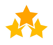 Three Stars Icon Cute Isolated...