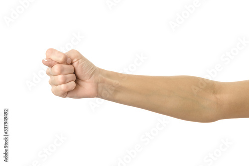 Photo Fig sign. Woman hand gesturing isolated on white