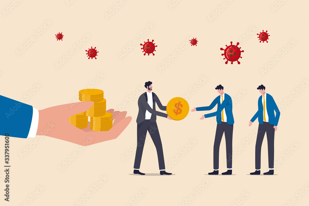 Fototapeta COVID-19 Coronavirus outbreak financial crisis help policy, government help pay salary, businessman entrepreneur manager take money from government hand give salary to employees, virus pathogen.