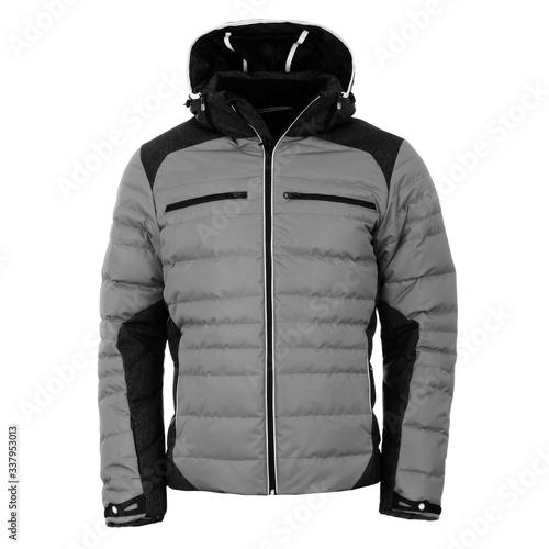 Gray winter jacket isolated on white background