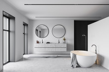 Tub And Sink In White And Blac...