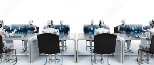 Fotografie, Obraz Cyborg work on computer