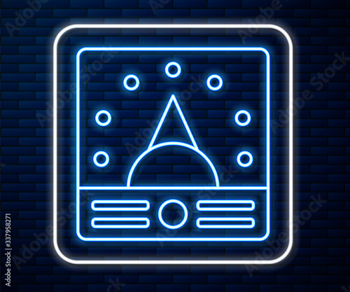 Photo Glowing neon line Ampere meter, multimeter, voltmeter icon isolated on brick wall background