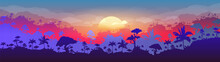 Jungle Flat Color Vector Illustration. Evening Forest Scenery. Panoramic Woods At Sunset. Tropical Scenic Nature With Orange Sun. Rainforest 2D Cartoon Landscape With Layers On Background