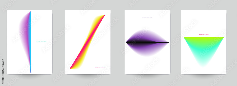Fototapeta Set of abstract minimal template design for branding, advertising in colorful gradient blur style. Modern trendy background cover posters, banners, flyers, placards. Vector illustration. EPS 10.
