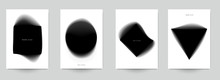 Set Of Abstract Minimal Template Design For Branding, Advertising In Black Gradient Blur Style. Modern Trendy Background Cover Posters, Banners, Flyers, Placards. Vector Illustration. EPS 10.