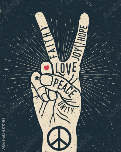 Peace hand gesture sign with words on it. Peace love poster concept. Vintage styled vector illustration © paul_craft