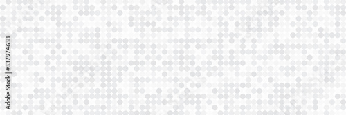 Technology banner design with white and grey arrows. Abstract geometric vector background with dot circle pattern for wide banner