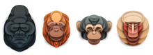 Set Of Cartoon Wild Monkey Head In Trendy Paper Cut Craft Graphic Style. Gorilla, Orangutan, Chimpanzee, Baboon. Modern Design For Advertising Cover, Poster, Banner. Vector Illustration