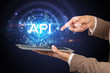 Close-up of a touchscreen with API abbreviation, modern technology concept