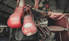 A Pair Of Old Muay Thai Boxing Gloves Hangs On The Boxing Ring At Training  Camp