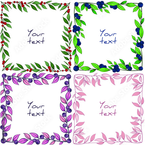 Valokuva Set of foliate frames; square frames with berries and leaves for greeting cards, wedding cards, posters, banners, invitations, web design