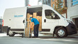 Leinwandbild Motiv Courier Takes out Cardboard Box Package From Opened Delivery Van Side Door. Professional Courier / Loader helping you Move, Delivering Your Purchased Items Efficiently