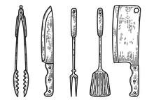 Set Of Illustrations Of Kitchenware In Engraving Style. Kitchen Knife, Fork, Meat Cleaver. Design Elements For Logo, Label, Sign, Poster, T Shirt. Vector Illustration