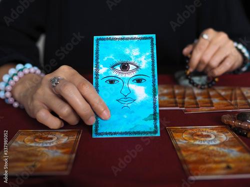 tarot card reading third eye fortune teller astrologer divination selected focus Wallpaper Mural