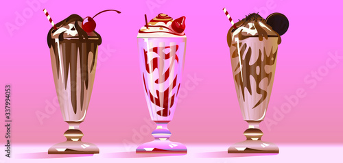 Fotografia, Obraz Vector illustration with three different type of milkshake with special taste