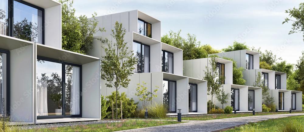 Fototapeta Modular houses of modern architecture
