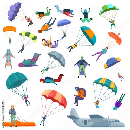 Parachuting icons set Canvas Print