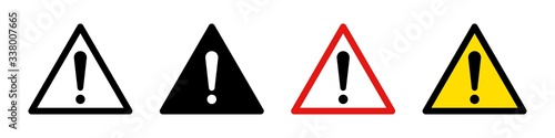 Attention caution danger signs. Vector isolated icon. Se of attention signs. Collection vector danger icons isolated on white background. - fototapety na wymiar