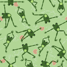 Seamless Pattern With Funny Frog Doing Yoga. Written Phrase - I Love Yoga