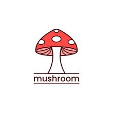 Red Mushroom Logo Vector. Agriculture Symbol Design On White Background.