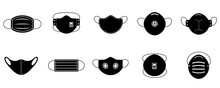 A Set Of Medical Face Masks. Various Protective Masks Against Viruses, Dust And Respiratory Diseases.Protection From Coronavirus.Vector Illustration, Black And White Flat.