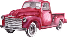 Watercolor Retro Truck. Hand P...