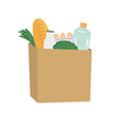 Food and drinks in a paper bag. Food Delivery Concept. There is a bread, a bottle of milk, water, cabbage, eggs and green onions in the picture. Vector illustration on a white background