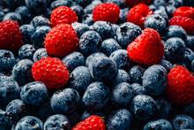 Fresh Raspberries And Blueberr...